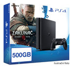SONY PlayStation 4 - 500GB Slim Black CUH-2016A + The Witcher 3: The Wild Hunt edice roku (Zaklínač 3) (PS4.Witcher)