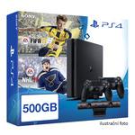 SONY PlayStation 4 - 500GB Slim Black CUH-2016A + NHL 2017 + FIFA 2017 + 2x Dualshock (PS4b.EA.NHL17.FIFA17)