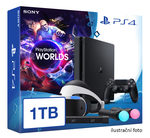 SONY PlayStation 4 - 1TB slim Black CUH-2016B + VR Worlds + PSVR + camera + 2x Move (PS4.1TB.VRWorld)