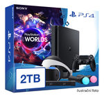 SONY PlayStation 4 - 2TB slim Black CUH-2016B + VR Worlds + PSVR + camera + 2x Move (PS4.2TB.VRWorld)
