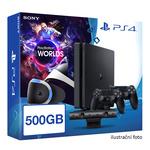 SONY PlayStation 4 - 500GB slim Black CUH-2016B + VR Worlds + PSVR + camera + 2x DS4 (PS4.500GB.VRWorld)