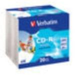 20ks CD-R 700MB AZO Verbatim 52x / Wide Printable / SlimCase (43424)