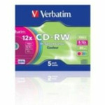 5ks CD-RW 700MB Verbatim 8-12x / barevn� / SlimCase