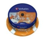 25ks DVD-R 4,7GB Verbatim 16x / Wide Injekt Printable / Spindl