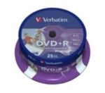 25ks DVD+R 4,7GB Verbatim 16x / Injekt Printable / Spindl (43539)