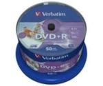 50ks DVD+R 4,7GB Verbatim 16x / Wide Injekt Printable / Spindl (43512)