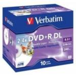 10ks DVD+R DL 8.5GB Verbatim 2.4x / Printable / JewelCase (43665)