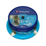 25ks CD-R 700MB AZO Verbatim 52x / Extra Protection / LightScribe / Spindl