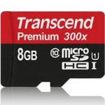 Transcend microSDHC 8GB / microSDHC / 8GB / Class 10 UHS-1 / 300x (TS8GUSDCU1)