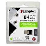 Kingston DataTraveler MicroDuo 64GB / Flash Disk pro telefony a tablety / USB 3.0 / OTG / černá (DTDUO3/64GB)