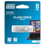 GOODRAM UTS2 8GB bílá / Flash disk / USB 2.0 / čtení: 20MBs / zápis: 5MBs (UTS2-0080W0R11)