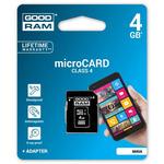 GOODRAM Micro SDHC + Adapter 4GB / Class 4 / pro archivaci dat / čtení: 15MBs / zápis: 4MBs (M40A-0040R11)