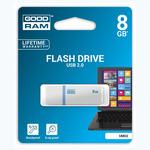 GOODRAM UMO2 8GB bílá / Flash disk / USB 2.0 / čtení: 20MBs / zápis: 5MBs (UMO2-0080W0R11)