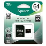 Apacer MicroSDXC 64GB + adaptér / Class 10 / UHS-I / čtení: 45MBs / zápis: 20MBs (AP64GMCSX10U1-R)