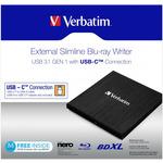VERBATIM Slimline černá / Blu-ray + DVD externí vypalovačka / USB 3.1 Gen. 1 / USB-C (43889)