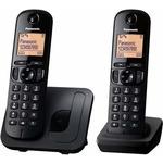 Panasonic KX-TGC212FXB Twinpack / CLIP / telefonní seznam na 50 jmen / montáž na stěnu / bílý (KX-TGC212FXB)