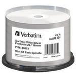 50ks CD-R 700MB Verbatim 52x / WIDE SILVER INKJET PRINTABLE NON ID / Spindl (43653)