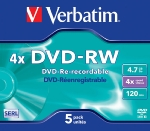 Verbatim DVD-RW / 4,7 GB / 4x / 5ks jewel box (43285)