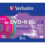 Verbatim DVD+R Colour / 8,5 GB DoublelLayer / 8x / 5ks jewel case (43682)