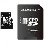 ADATA Micro SDHC karta 4GB + SD adaptér / Class 4 / R: 14MB/s / W: 5MB/s (AUSDH4GCL4-RA1)