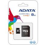 ADATA Micro SDHC karta 8GB + SD adaptér / Class 4 / R: 14MB/s / W: 5MB/s (AUSDH8GCL4-RA1)