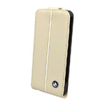 BMW Flip ko�en� pouzdro pro Apple iPhone 5 / Cream