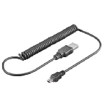 PremiumCord Kabel mini USB, A-B 1.5m - kroucený 50cm až 150cm (ku2m1akr)