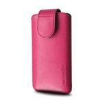 RedPoint Safir kožené pouzdro se zavíráním / Vertikální / velikost L / Růžové / výprodej (RPSFM-006-L)