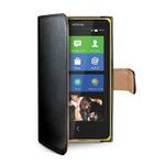 CELLY Wally pouzdro typu kniha pro Nokia Lumia 630 / PU kůže / černé (WALLY401)