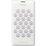 Samsung flipové pouzdro s kapsou pro Samsung Galaxy S5 (G900) / edice Moschino Peace / bílo-stříbrná (EF-WG900RAEGWW)