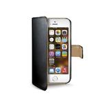 CELLY Wally pouzdro typu kniha pro Apple iPhone 5, 5S / PU kůže / černá (WALLY185)