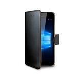 CELLY Wally pouzdro typu kniha pro Microsoft Lumia 650 / PU kůže / černý (WALLY536)