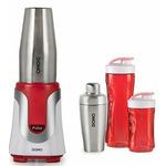 DOMO DO449BL Smoothie mixér a koktejl shaker v jednom - nerez / 300 ml a 600 ml nádoby / 300W / červený (DO449BL)