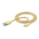 Cellularline STYLECOLOR datový kabel s konektorem microUSB / žlutý (USBDATAMUSBSMARY)
