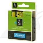 Dymo orig. páska, 45018, S0720580, černý tisk/žlutý podklad, 7m, 12mm,