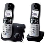 Panasonic KX-TG6812FXB černo-stříbrná / DECT bezdrátový telefon s 1.8 displejem / CLIP / 2 sluchátka (KX-TG6812FXB)