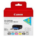 Canon originální cartridge PGI-550/CLI-551 PGBK C M Y BK GY / Multipack (6496B005)