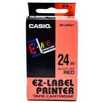CASIO originální páska do tiskárny štítků CASIO XR-24RD1 / černý tisk / červený podklad / nelaminovaná / 8m / 24mm (XR-24RD1)