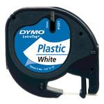 Dymo originální páska do tiskárny štítků 12mm x 4m / černý tisk / bílý podklad / LetraTag plastová páska (59422-D)