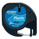 Dymo originální páska do tiskárny štítků 12mm x 4m / černý tisk / modrý podklad / LetraTag plastová páska (S0721650)
