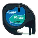 Dymo originální páska do tiskárny štítků 12mm x 4m / černý tisk / zelený podklad / LetraTag plastová páska (S0721640)
