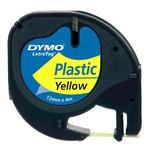 Dymo originální páska do tiskárny štítků 12mm x 4m / černý tisk / žlutý podklad / LetraTag plastová páska (59423-D)