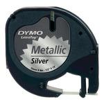 Dymo originální páska do tiskárny štítků 12mm x 4m / černý tisk /stříbrný podklad / LetraTag metalická páska (S0721730)