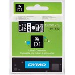 Dymo originální páska do tiskárny štítků 19mm x 7m / bílý tisk / černý podklad / D1 (45811-D)