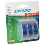 Dymo originální páska do tiskárny štítků 9mm x 3m / bílý tisk / modrý podklad / 3D / 3 ks (S0847740)