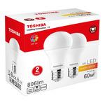 TOSHIBA A60 duo pack LED žárovka E27 8.5W / 806lm / 2700K / Teplá bílá (00101315130A-2PK)