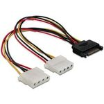 Power Adapter SATA 15-pin samec na 2x Molex 4-pin samice, 20cm (65159)