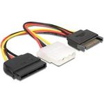 Delock Power Adapter SATA 15-pin samec Molex samice 4-pin + SATA 15-pin samice, 16,5cm (65235)