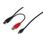 Digitus USB napájecí Y kabel, 2xUSB A na mini USB B, 1m (AK-300113-010-S)