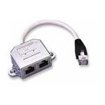 PremiumCord Modulární RJ45 distributor 1 port ISDN + 1 port RJ45 10/100Base T (8592220005559) - CABLE ROZDVOJKA UTP RJ45, 2xF-1xM, Y, kat.5e, telefon+síť, kabel 10cm (T-MOD adapter) smd6